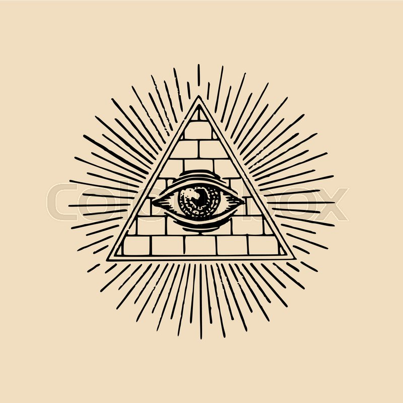 All Seeing Eye Freemasonry Pyramid Vector Illustration Engraving