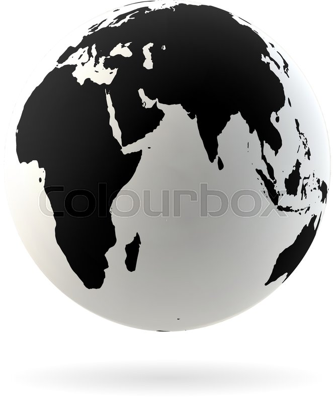 Highly Detailed Earth Globe Symbol, Arabian Countries, China, India. Black  On White Background, Vector
