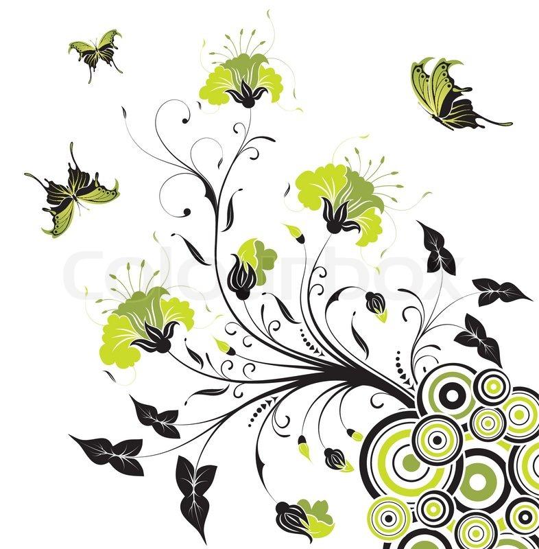 blume hintergrund mit schmetterling und kreis element f r design vektor illustration. Black Bedroom Furniture Sets. Home Design Ideas