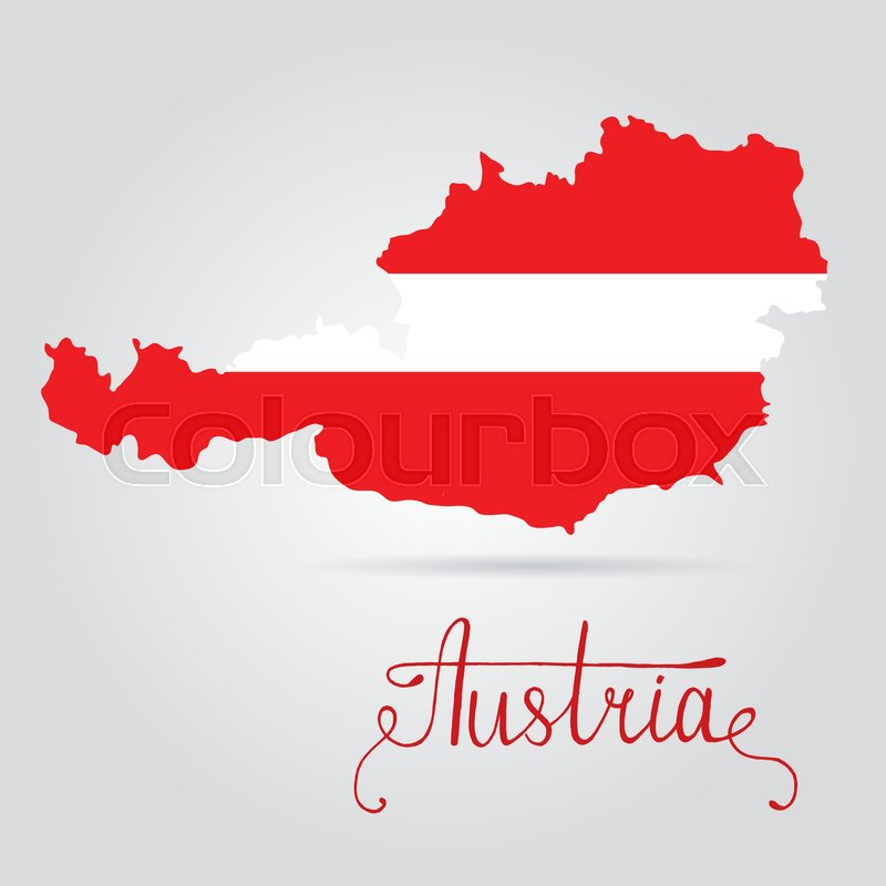 map of austria with an official flag illustration on white