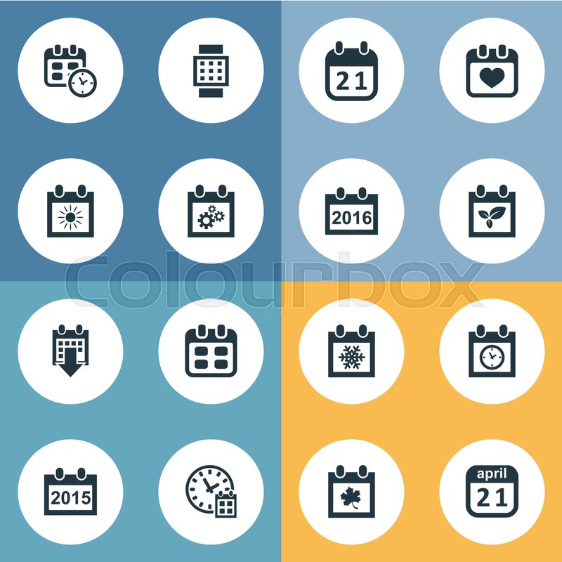 Vector Illustration Set Of Simple Time Icons Elements Agenda Event