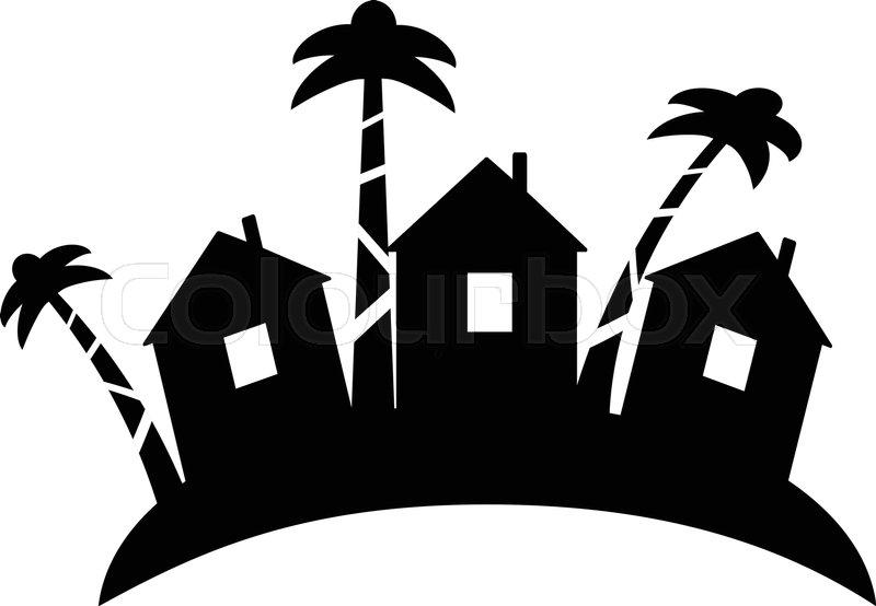 Summer Bungalow Icon In Outline Design Beach Hut Logotype