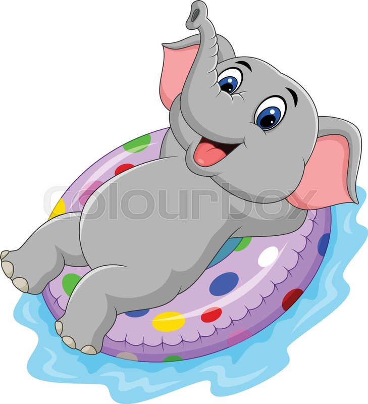 Vector illustration of Cartoon elephant with inflatable ring, vector