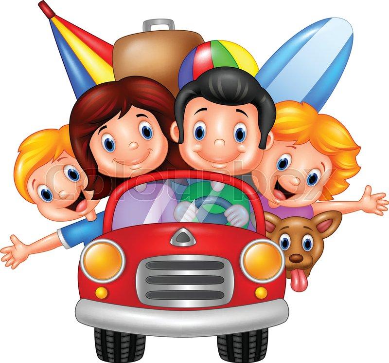 Vector illustration of Cartoon family vacation | Stock ...