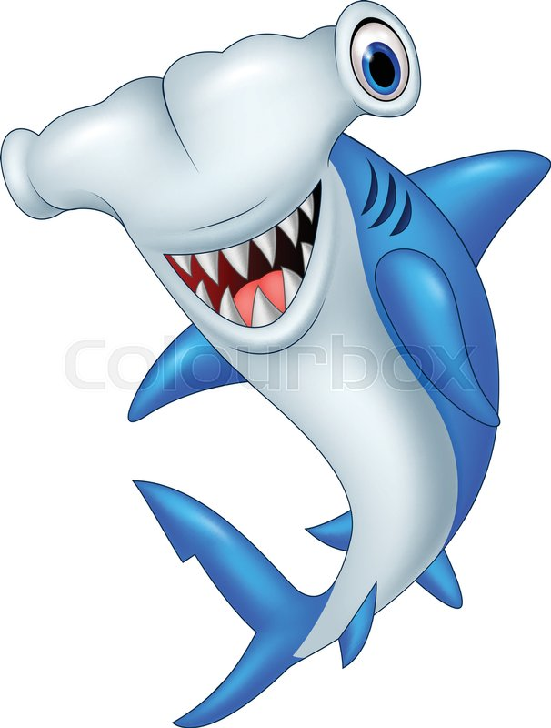Vector illustration of Cartoon hammerhead shark | Stock ...