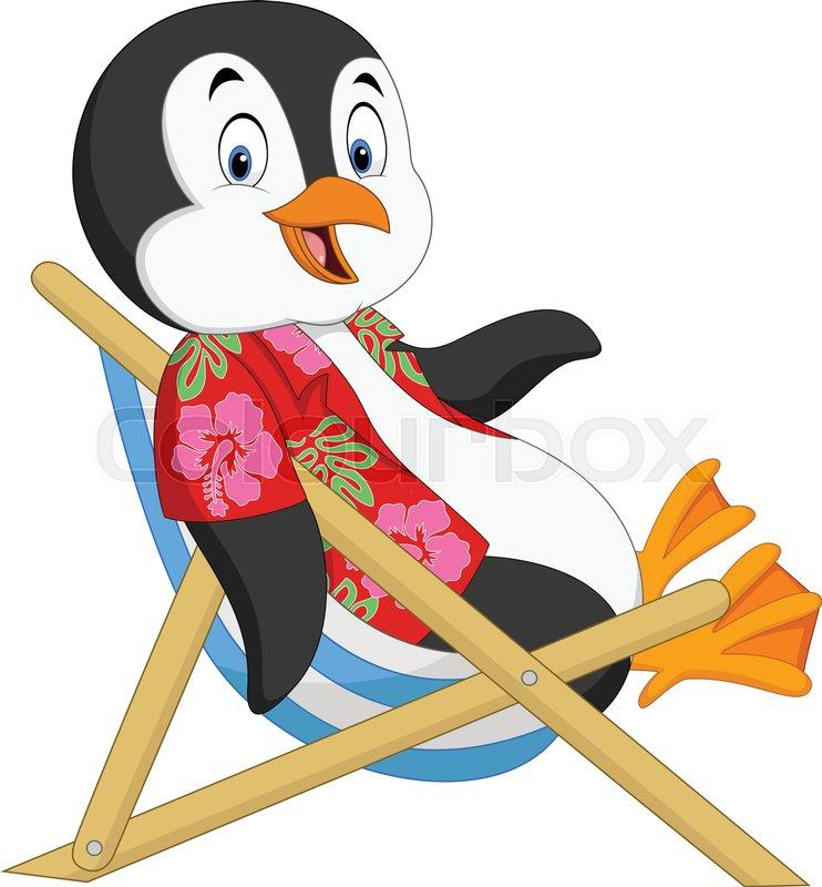 Vector Illustration Of Cartoon Penguin Sitting On Beach