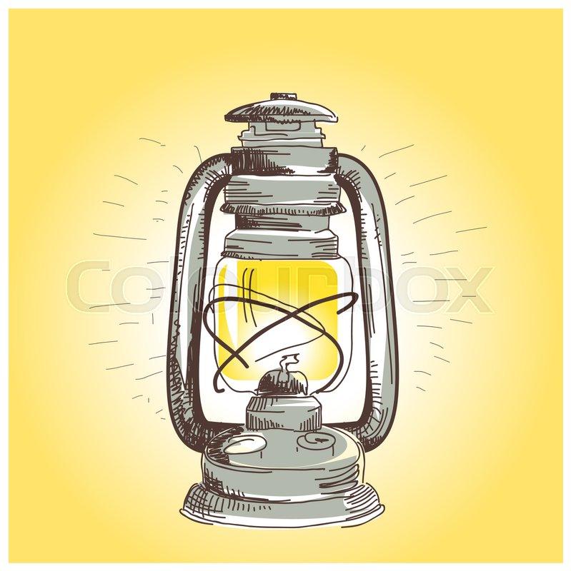 Hand Draw Oil Lantern Lamp Burning Illustration