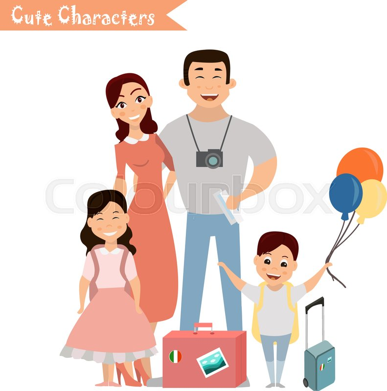 People and family traveling on     | Stock vector | Colourbox