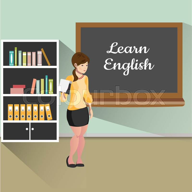 Teacher with board. Learn English. Vector illustration, vector