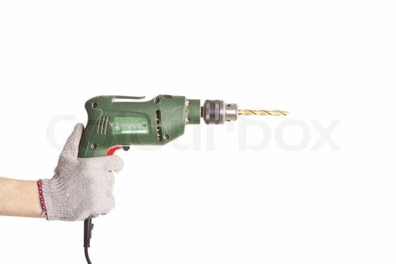 hand drilling machine. man\u0027s right hand handling an electric drilling machine isolated   stock photo colourbox