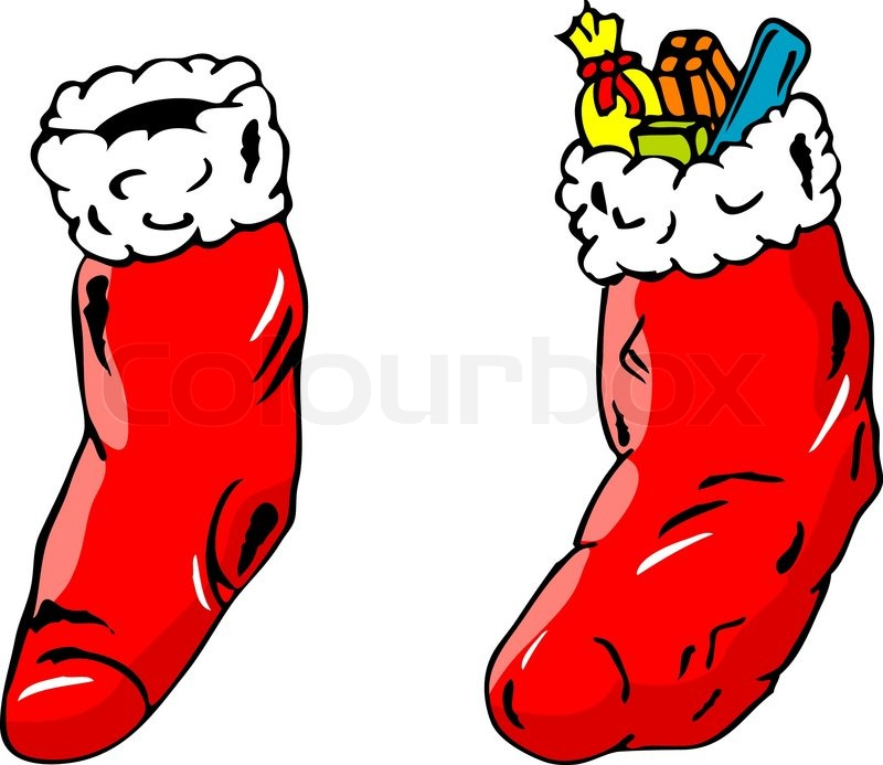 isolated full and empty christmas socks stock vector colourbox
