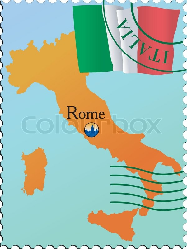 Capital Of Italy Map.Rome Capital Of Italy Stock Vector Colourbox