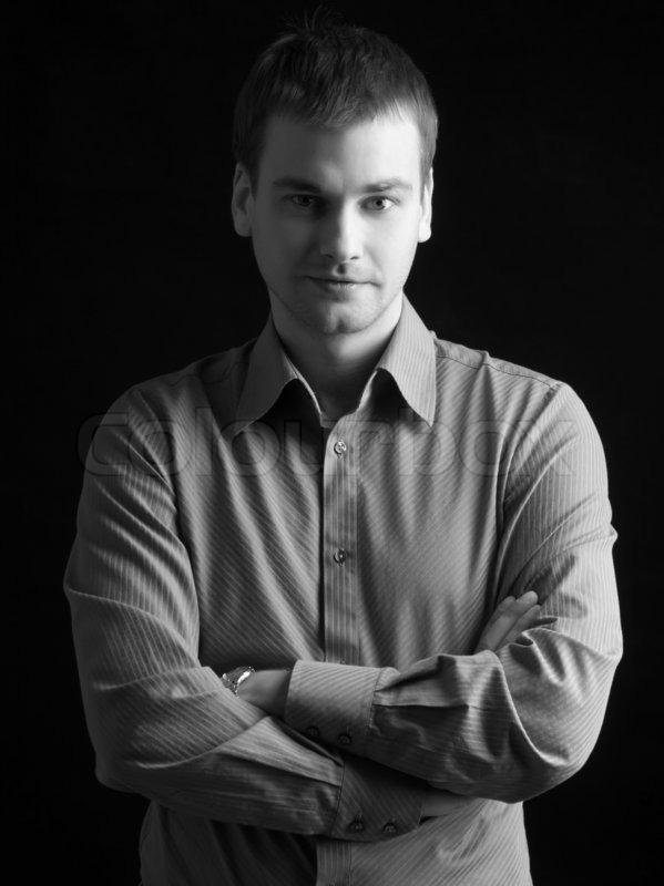 Handsome Fashion Model Man On Black Background Stock