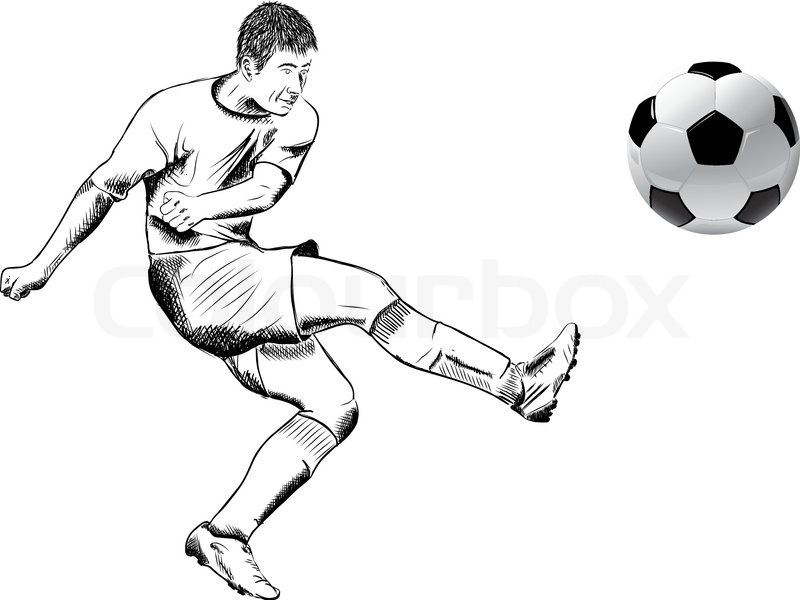 Football player on the white | Stock Vector | Colourbox