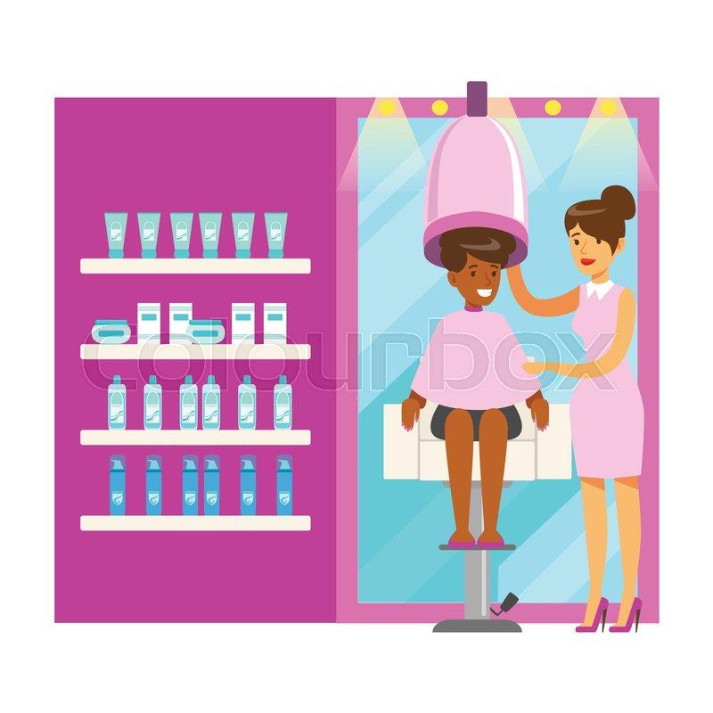 Women Drying Hair In Beauty Salon Stock Vector Colourbox