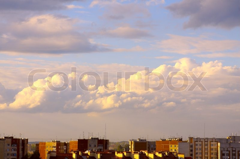 Morning cloudy sky over the city | Stock Photo | Colourbox