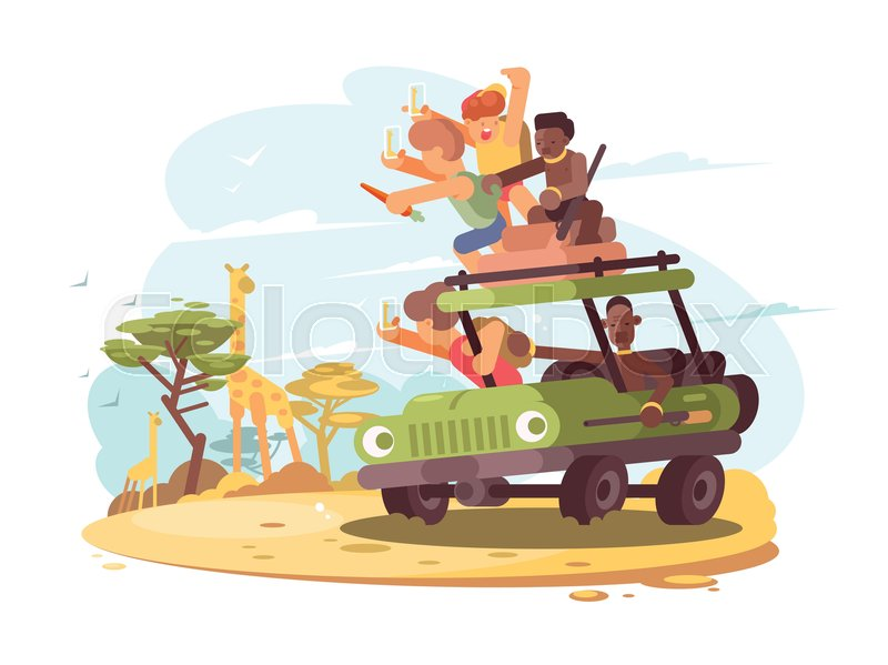 Group of tourists on safari photograph giraffe. Vector illustration, vector