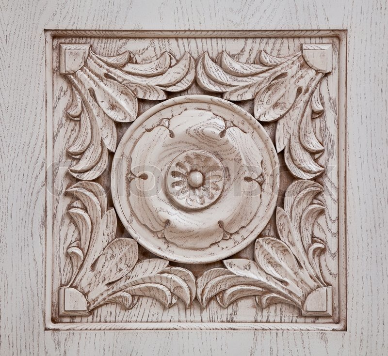 Carved pattern on wood stock photo colourbox
