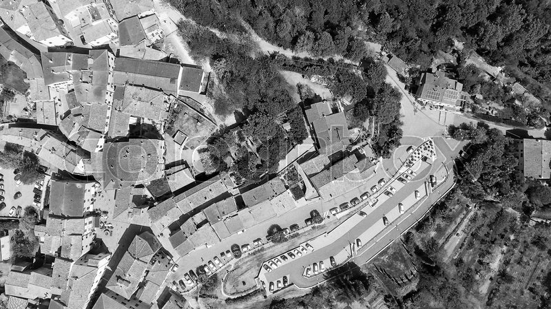 Aerial overhead view of Guardistallo, small medieval town of Tuscany, stock photo