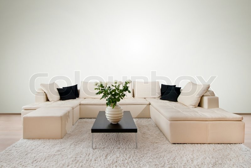 Modern Home Interior With Free Wall Stock Photo Colourbox