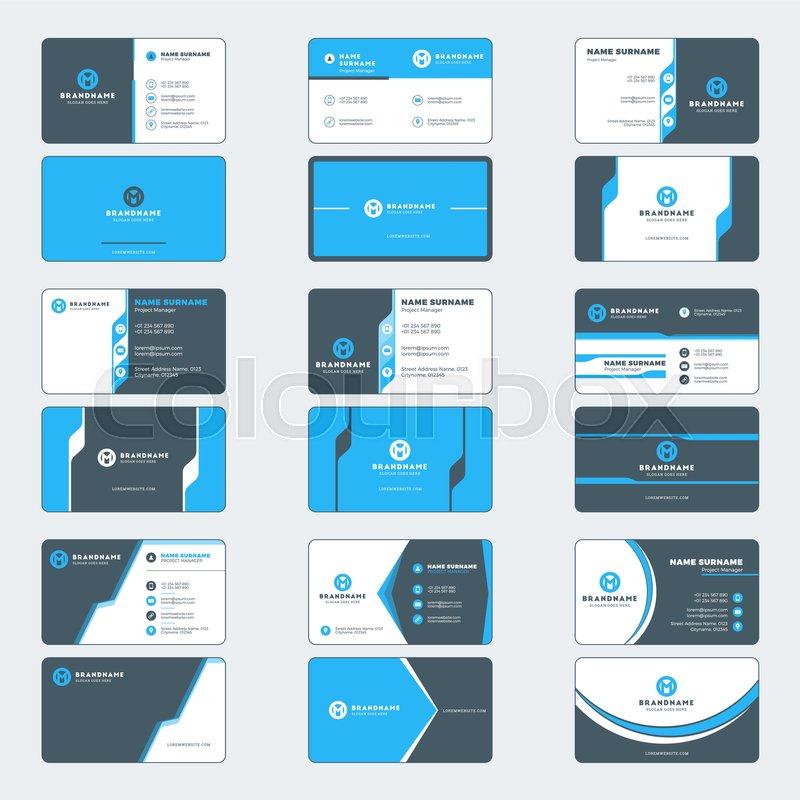 Set of modern business card print templates. Horizontal business ...