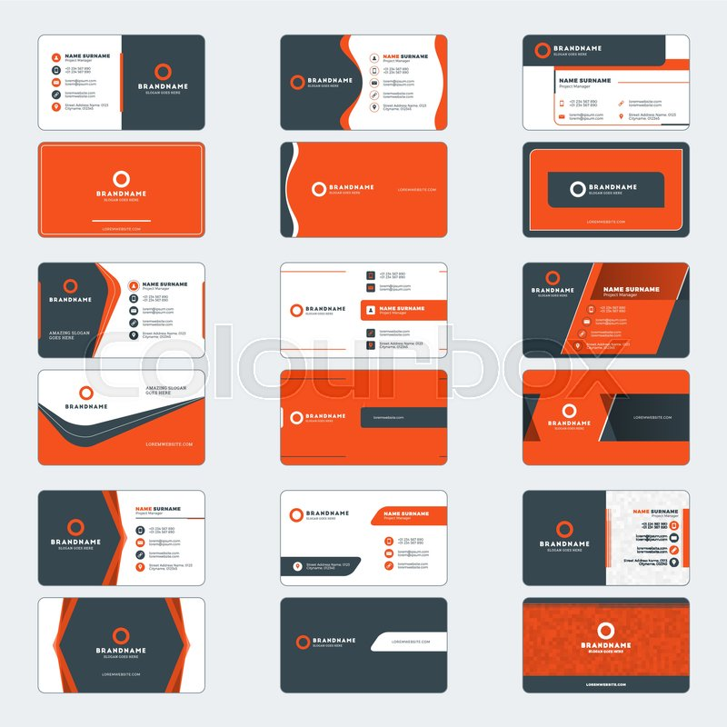 Set of modern business card print templates horizontal business set of modern business card print templates horizontal business cards red and black colors personal visiting card with company logo vector illustration colourmoves