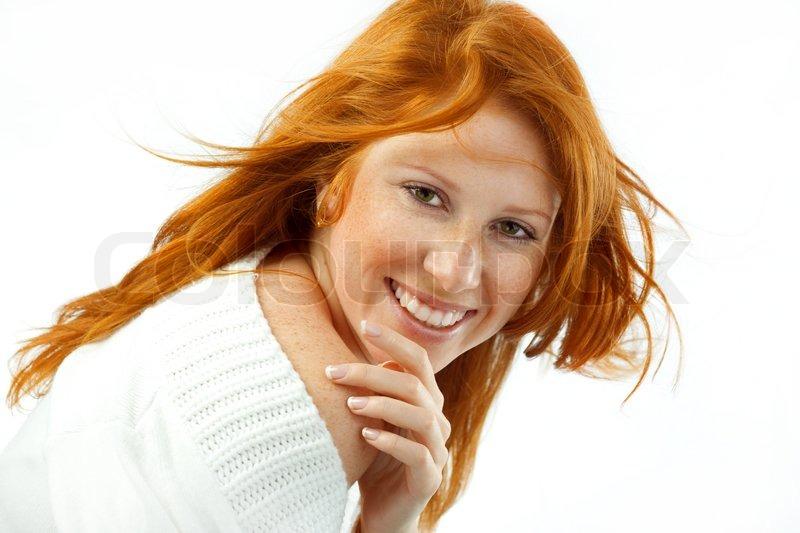 kurvet hvid rødt hår