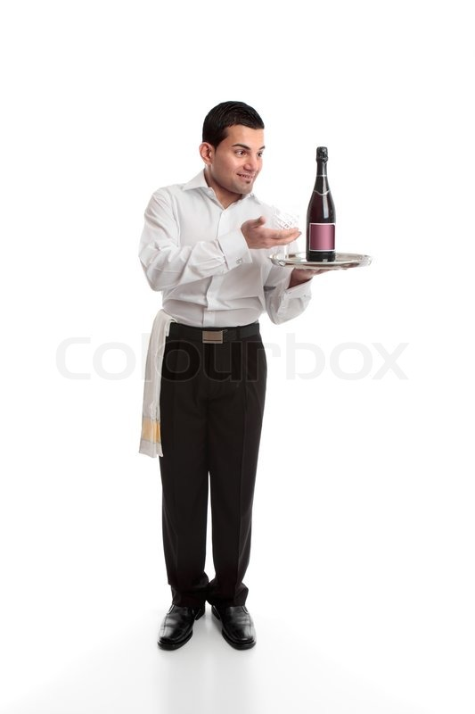 Waiter Presenting A Bottle Of Alcohol Stock Photo
