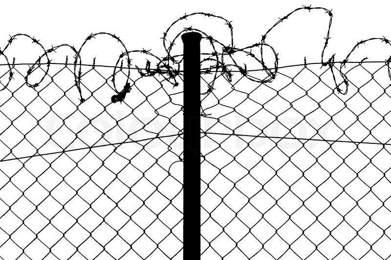 barbed wire fence drawing. Isolated Fence With Barbed Wire, Stock Photo Wire Drawing H