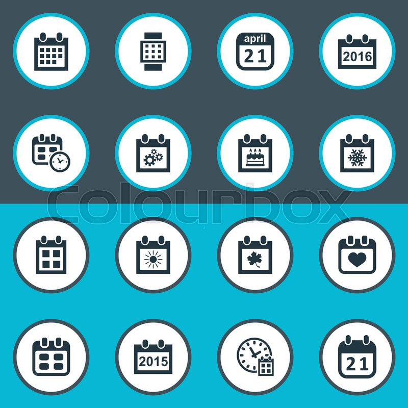 Vector Illustration Set Of Simple Calendar Icons Elements Event Date Block Reminder And Other Synonyms Winter Sun Time