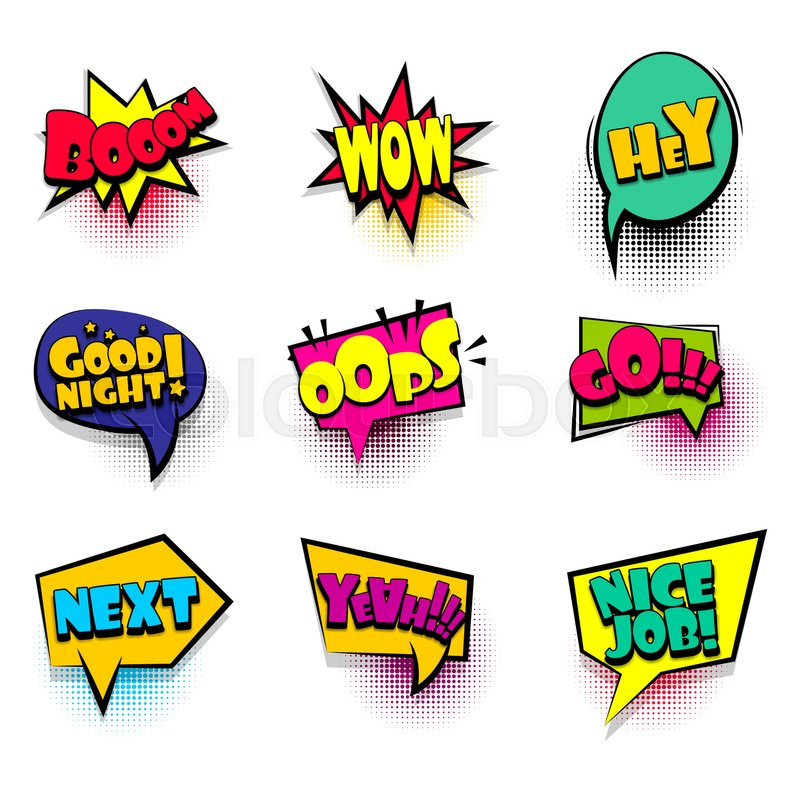 Boom Wow Hey Big Set Comic Font Bubble Effects Template Speech Chat Bubbles Halftone Dot Background Pop Art Dialog Cloud Text Style