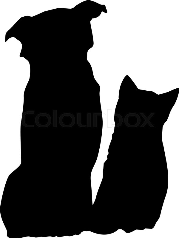 Dog And Cat Silhouette Stock Vector Colourbox