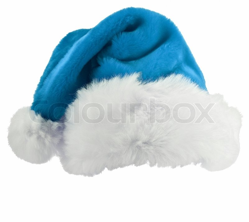 Blue and white santa hat shot on a background