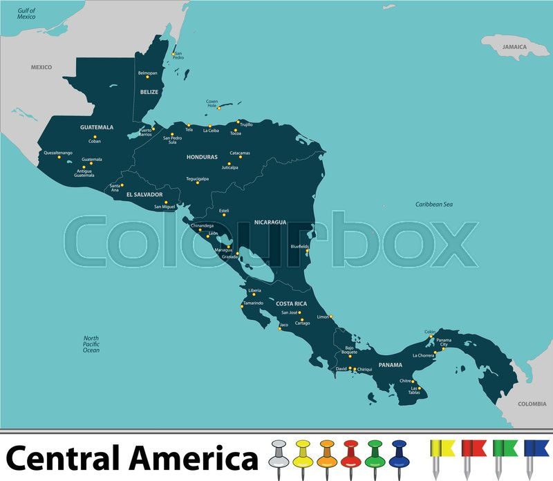 Vector map of Central America with ... | Stock Vector | Colourbox