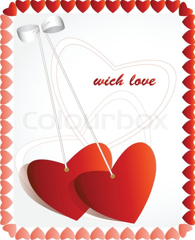Love Greeting Card A White Background With Hearts Stock Vector