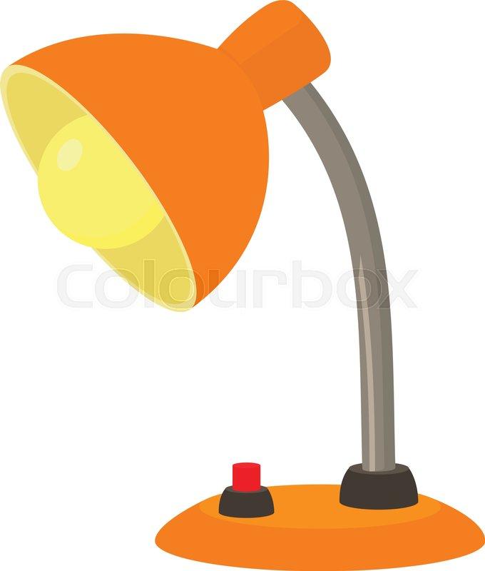Orange Desk Lamp Icon Cartoon Illustration Of Orange Desk