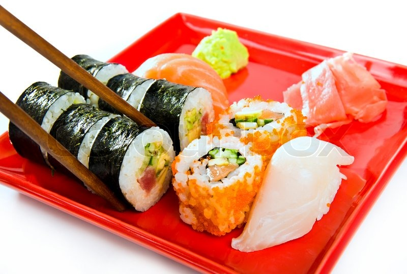 Sushi with rice raw fish and seafood stock photo for Is sushi raw fish
