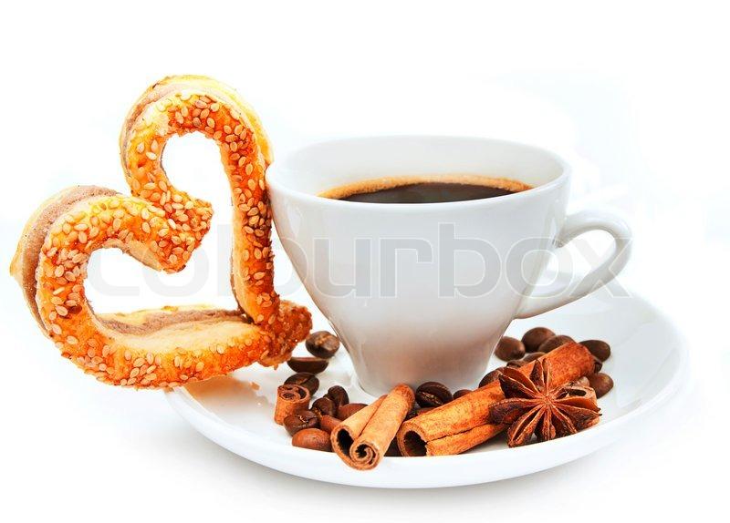 Stock Bild von 'Frische leckere Kekse und Kaffee'