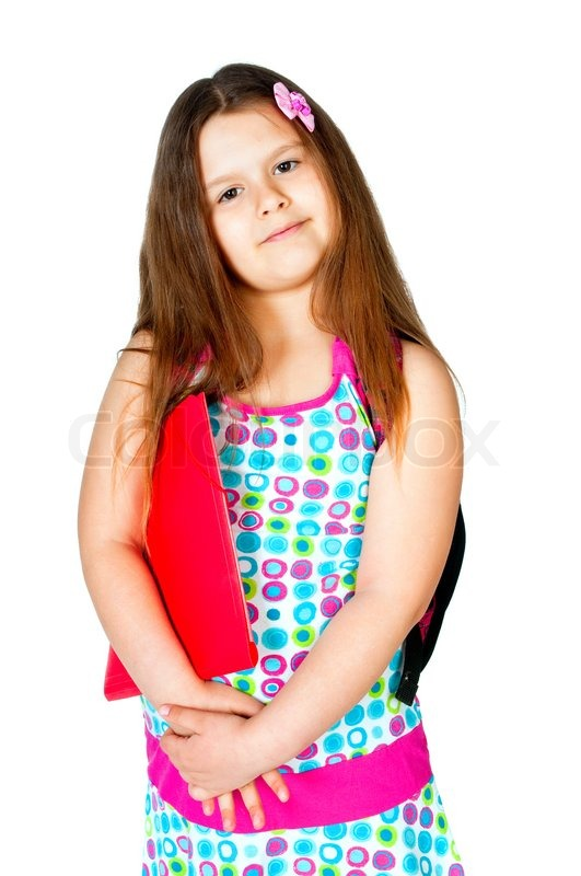 Girl with notebooks and school bags isolated on white ...