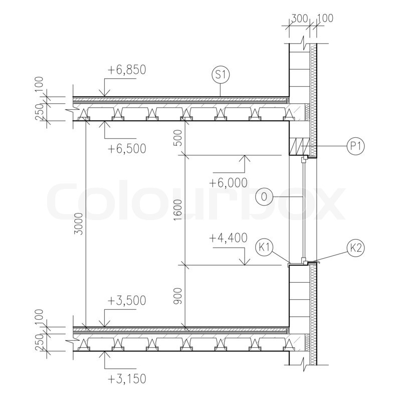 Construction Drawing Window Detail Stock Photo Colourbox