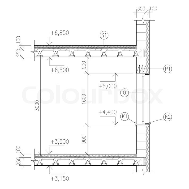 Zeichnen Bauzeichnungen Fenster Detail Stockfoto