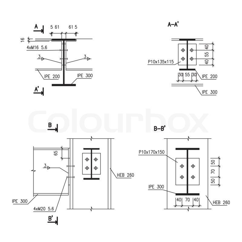 Zeichnen Bauzeichnungen Stahltr 228 Ger Stockfoto