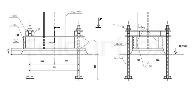 Construction Drawing Steel Column Anchoring Stock Photo