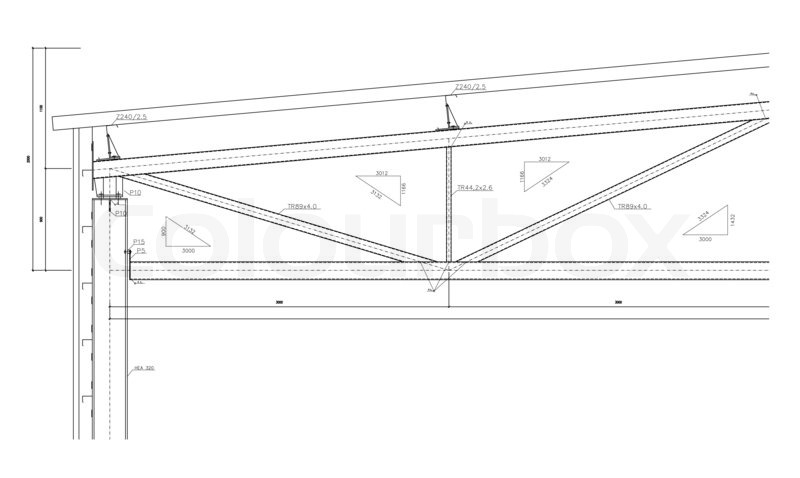 Stock image of 'Construction drawing, steel truss'