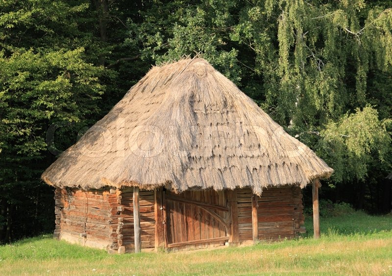Old Wood Log Shed With Thatch Roof On Historical Country