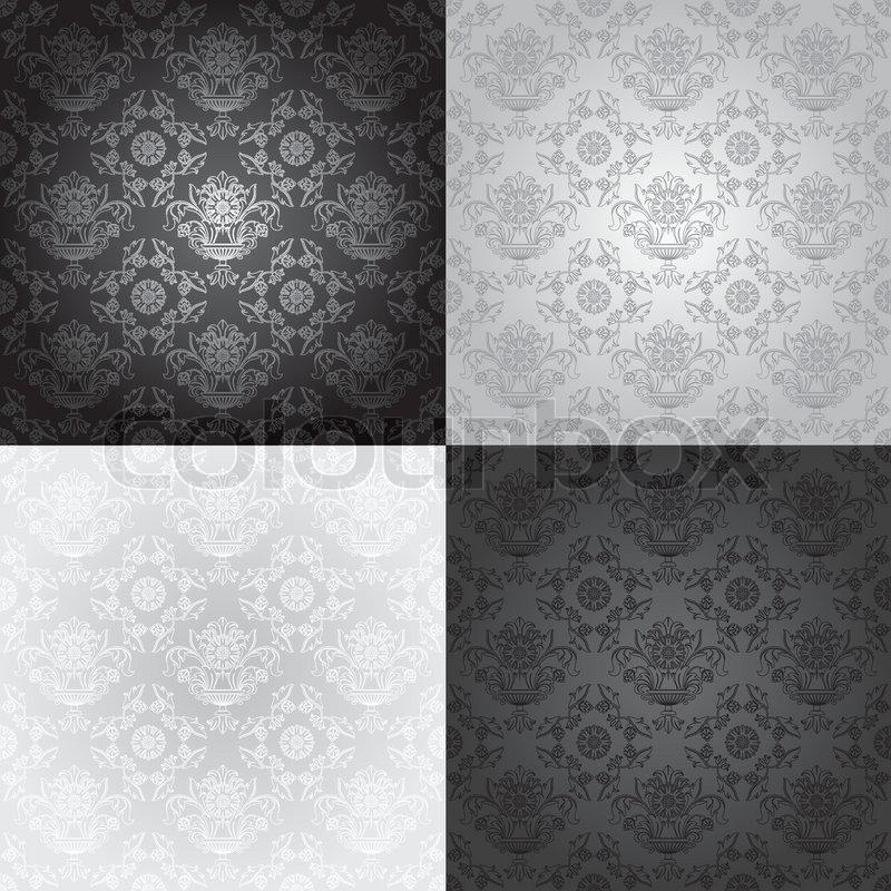 mønstret tapet Problemfri tapet mønster , blomsteragtige , vektor | stock vektor  mønstret tapet