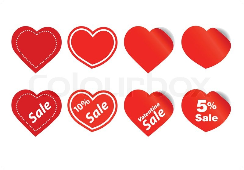 happy valentine sale stickers stock vector colourbox - Valentine Sale