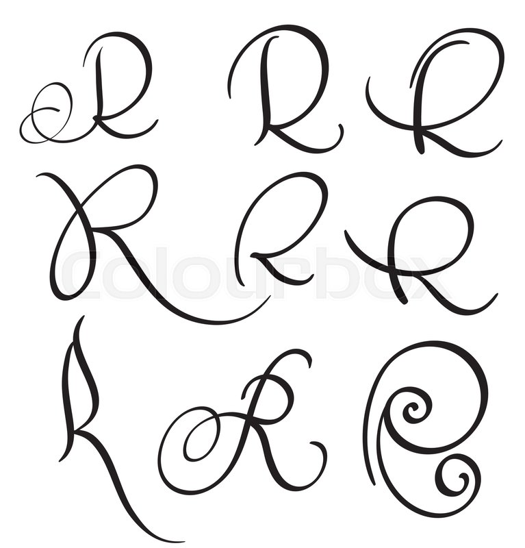 Set Of Art Calligraphy Letter R With Flourish Vintage Decorative Whorls Vector Illustration EPS10