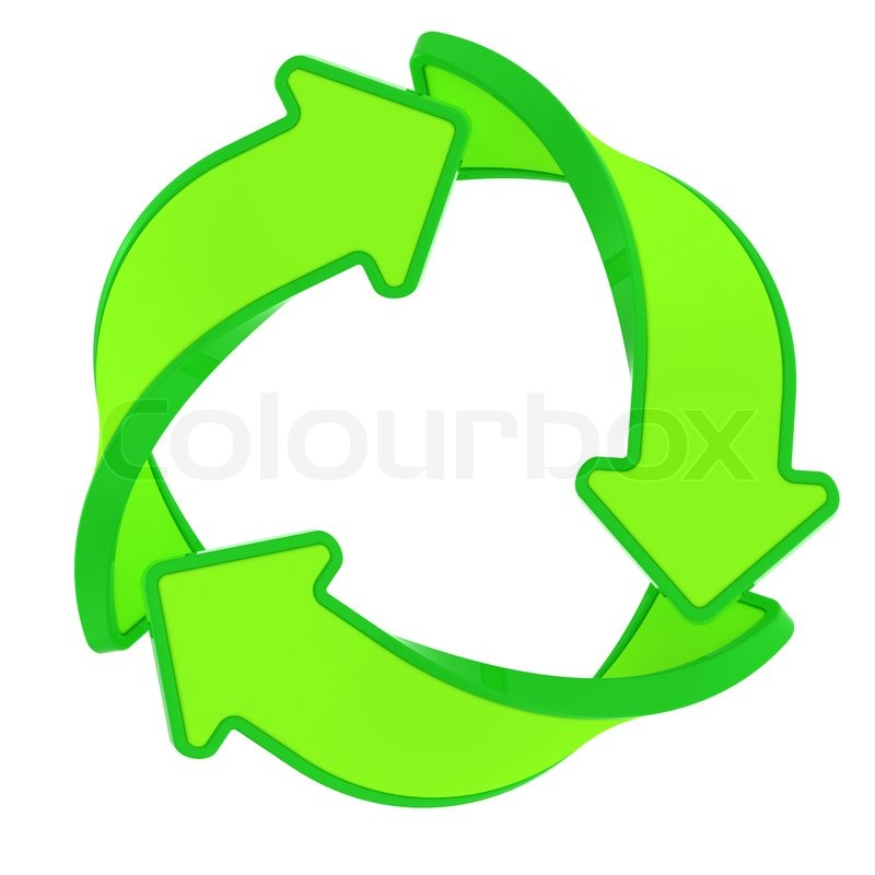Circle Of Three Green Arrows Recycling Symbol Stock Photo Colourbox
