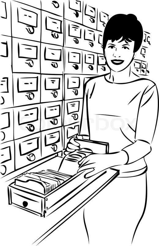 Girl With The Cards Near Closet Library Catalog